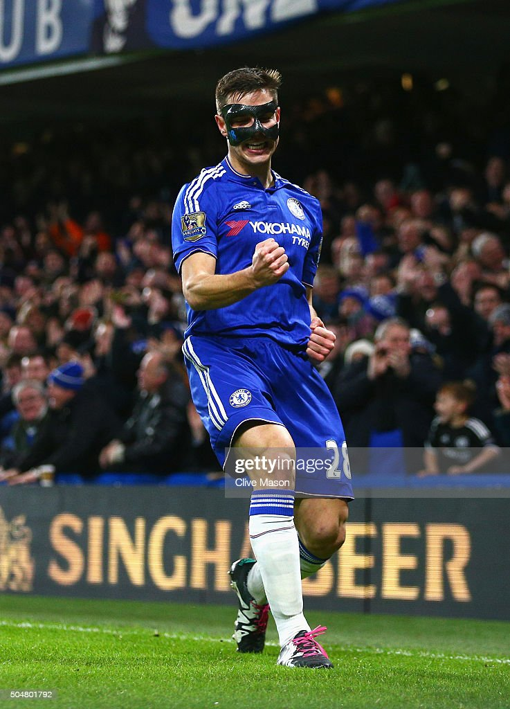 Cesar Azpilicueta of Chelsea celebrates scoring his team's first goal during the Barclays Premier League match between Chelsea and West Bromwich Albion at Stamford Bridge on January 13, 2016 in London, England.