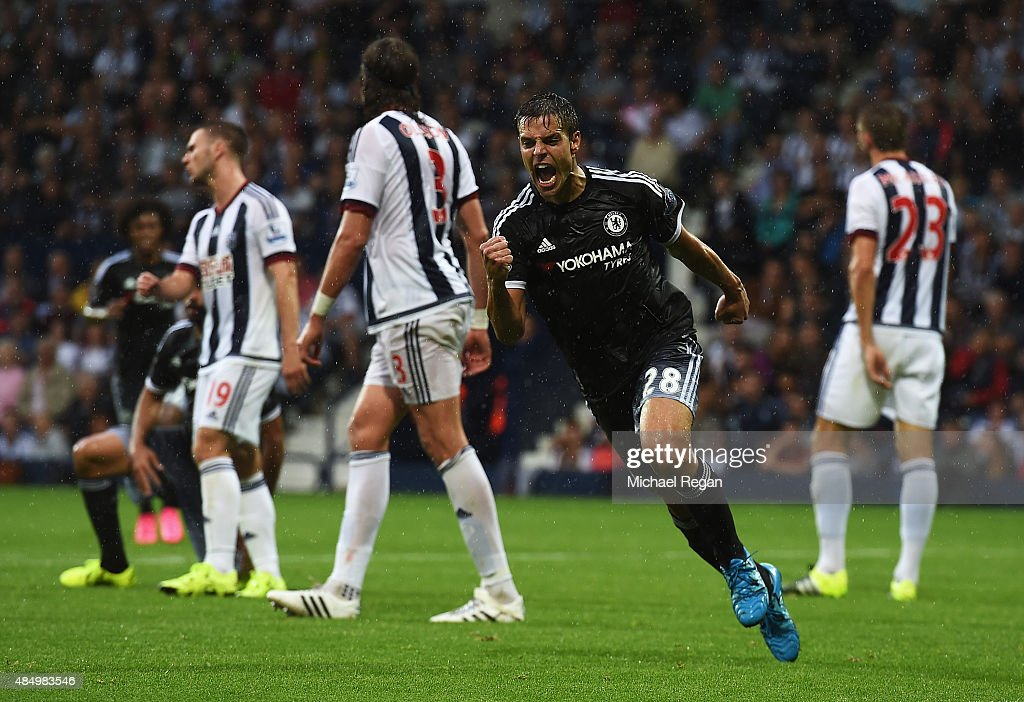 Cesar Azpilicueta of Chelsea celebrates scoring his team's third goal during the Barclays Premier League match between West Bromwich Albion and Chelsea at The Hawthorns on August 23, 2015 in West Bromwich, England.