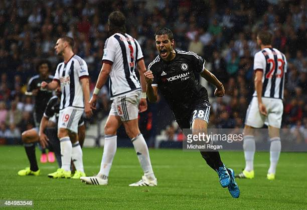 Cesar Azpilicueta of Chelsea celebrates scoring his team's third goal during the Barclays Premier League match between West Bromwich Albion and...