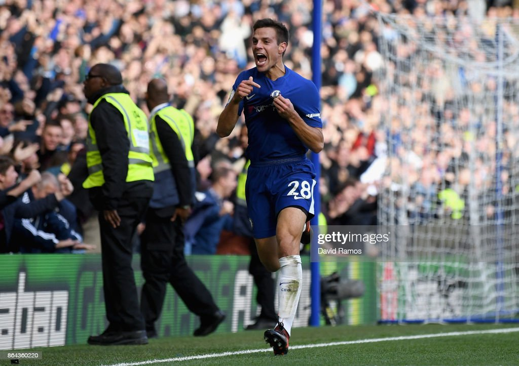 Cesar Azpilicueta of Chelsea celebrates scoring the 3rd Chelsea goal during the Premier League match between Chelsea and Watford at Stamford Bridge on October 21, 2017 in London, England.