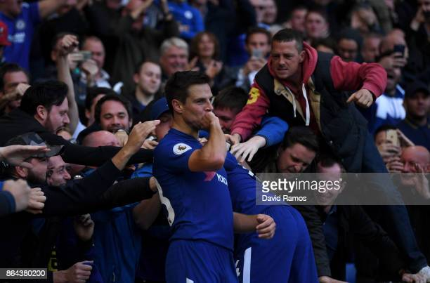 Cesar Azpilicueta of Chelsea celebrates scoring the 3rd Chelsea goal during the Premier League match between Chelsea and Watford at Stamford Bridge...