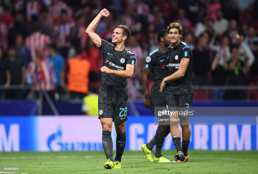 Cesar Azpilicueta of Chelsea celebrates victory during the UEFA Champions League group C match between Atletico Madrid and Chelsea FC at Estadio Wanda Metropolitano on September 27, 2017 in Madrid, Spain.