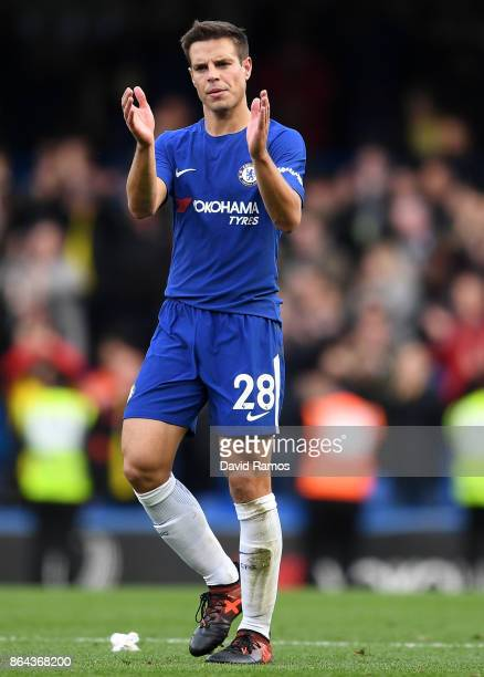 Cesar Azpilicueta of Chelsea claps the fans after during the Premier League match between Chelsea and Watford at Stamford Bridge on October 21 2017...
