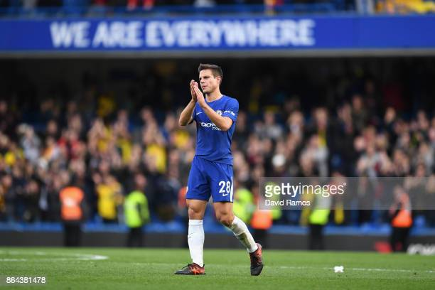 Cesar Azpilicueta of Chelsea claps the fans after the Premier League match between Chelsea and Watford at Stamford Bridge on October 21 2017 in...