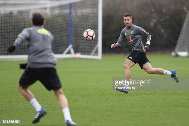 Cesar Azpilicueta of Chelsea during a training session at Chelsea Training Ground on March 10 2017 in Cobham England