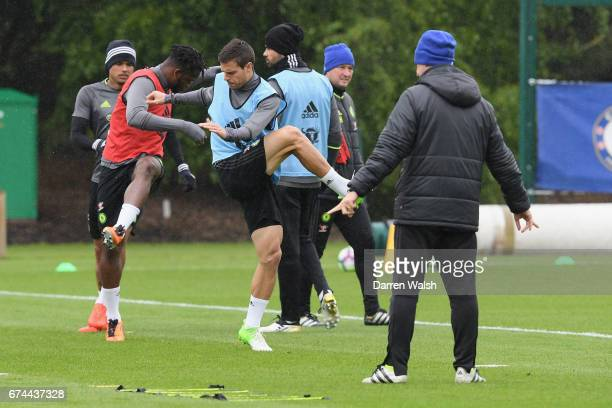 Cesar Azpilicueta of Chelsea during a training session at Chelsea Training Ground on April 28 2017 in Cobham England