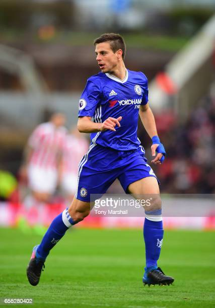 Cesar Azpilicueta of Chelsea during the Premier League match between Stoke City and Chelsea at Bet365 Stadium on March 18 2017 in Stoke on Trent...