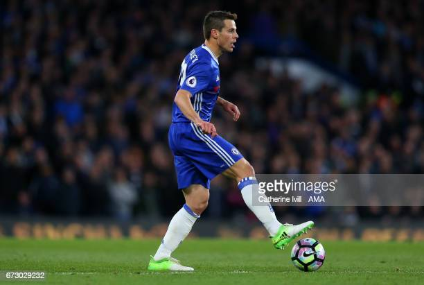 Cesar Azpilicueta of Chelsea during the Premier League match between Chelsea and Southampton at Stamford Bridge on April 25 2017 in London England