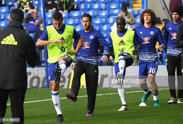 Cesar Azpilicueta of Chelsea Eden Hazard of Chelsea N'Golo Kante of Chelsea David Luiz of Chelsea warm up prior to kick off during the Premier League...
