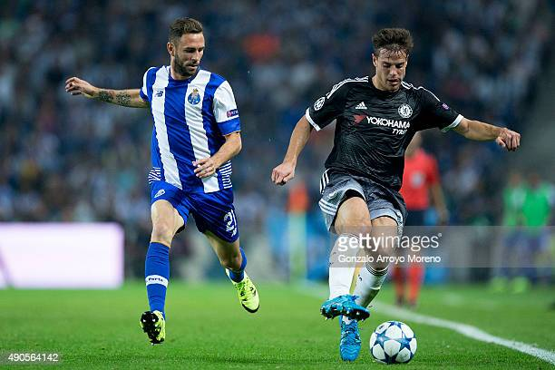 Cesar Azpilicueta of Chelsea FC competes for the ball with Miguel Layun of FC Porto during the UEFA Champions League Group G match between FC Porto...