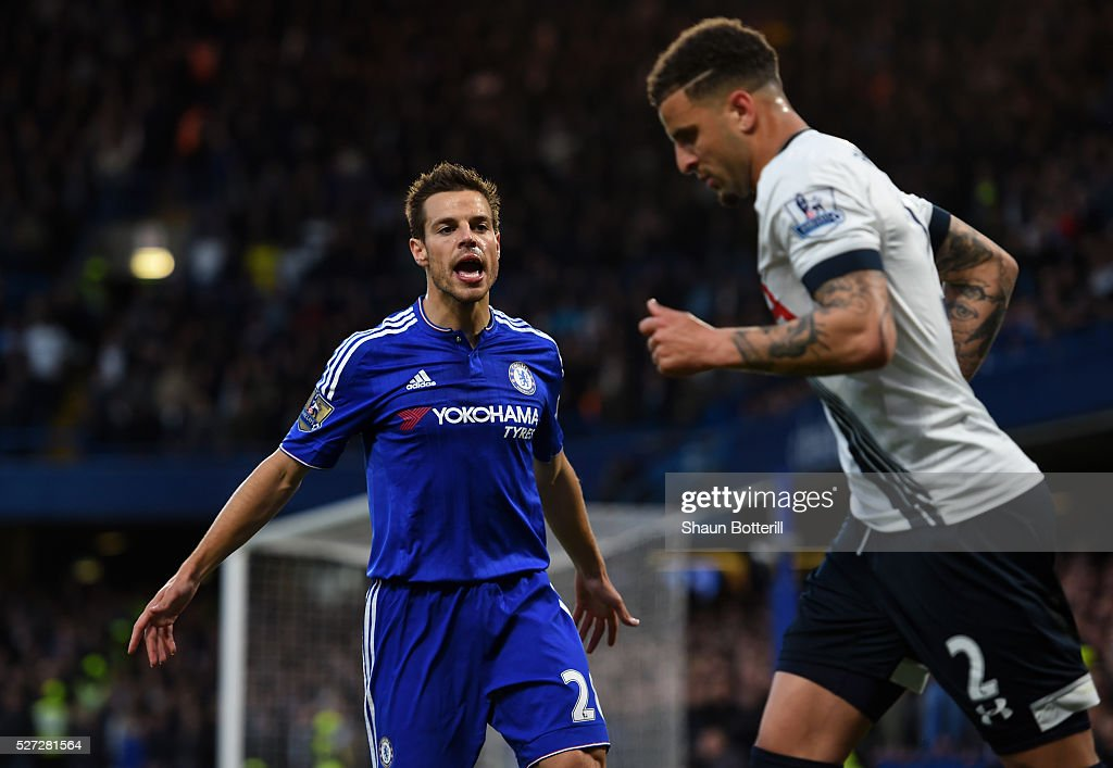 Cesar Azpilicueta of Chelsea gestures towards Kyle Walker of Tottenham Hotspur during the Barclays Premier League match between Chelsea and Tottenham Hotspur at Stamford Bridge on May 02, 2016 in London, England.jd