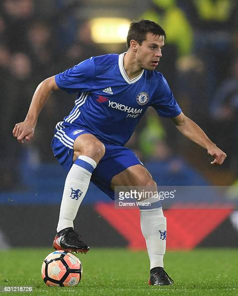 Cesar Azpilicueta of Chelsea in action during The Emirates FA Cup Third Round match between Chelsea and Peterborough United at Stamford Bridge on...