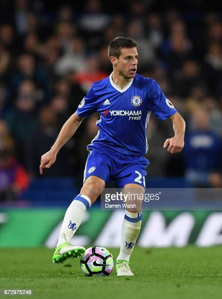 Cesar Azpilicueta of Chelsea in action during the Premier League match between Chelsea and Southampton at Stamford Bridge on April 25 2017 in London...