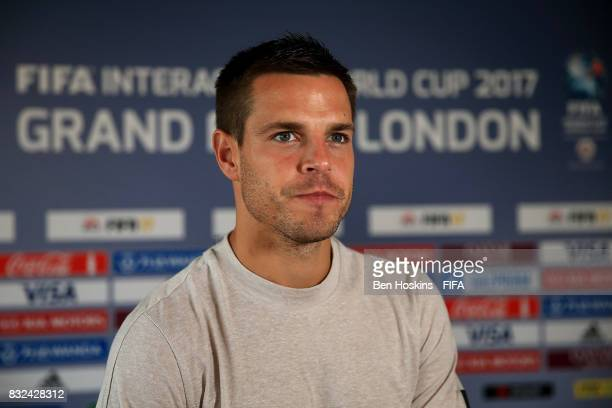 Cesar Azpilicueta of Chelsea is interviewed at the Welcome Dinner ahead of the FIFA Interactive World Cup 2017 on August 15 2017 in London England
