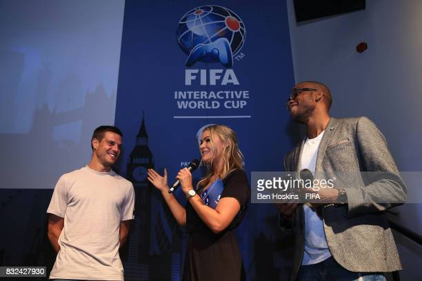 Cesar Azpilicueta of Chelsea is interviewed by Laura Woods and ChuBoi during the Media Presentation ahead of the FIFA Interactive World Cup 2017 on...
