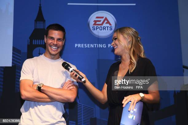 Cesar Azpilicueta of Chelsea is interviewed by Laura Woods during the Media Presentation ahead of the FIFA Interactive World Cup 2017 on August 15...