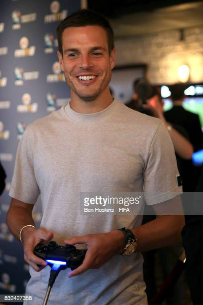 Cesar Azpilicueta of Chelsea plays FIFA ahead of the FIFA Interactive World Cup 2017 on August 15 2017 in London England