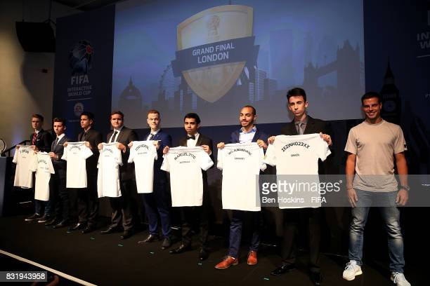 Cesar Azpilicueta of Chelsea poses with participants during the welcome dinner ahead of the FIFA Interactive World Cup 2017 on August 15 2017 in...