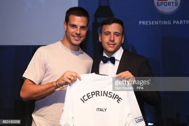 Cesar Azpilicueta of Chelsea presents Daniele 'Iceprinsipe' Paolucci of Italy with his shirt ahead of the FIFA Interactive World Cup 2017 on August...