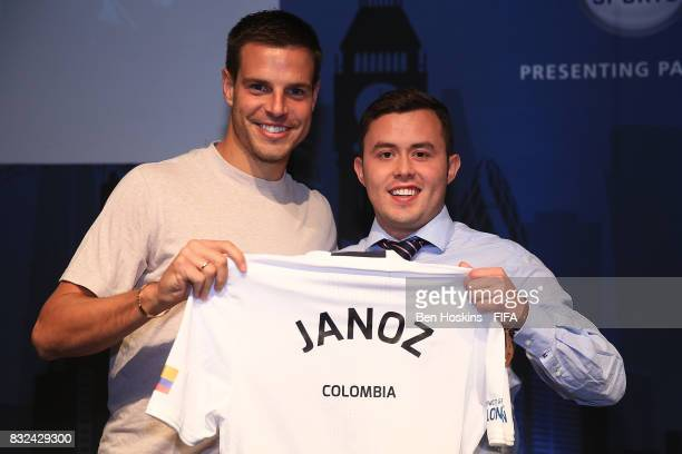 Cesar Azpilicueta of Chelsea presents Javier 'Janoz' Munoz of Columbia with his shirt ahead of the FIFA Interactive World Cup 2017 on August 15 2017...