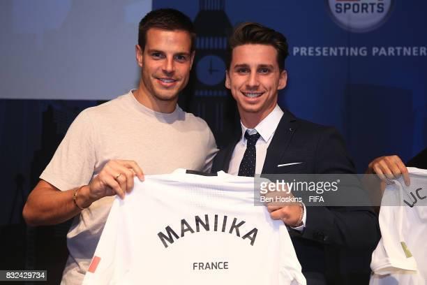 Cesar Azpilicueta of Chelsea presents Johann 'Maniika' Simon of France with his shirt ahead of the FIFA Interactive World Cup 2017 on August 15 2017...