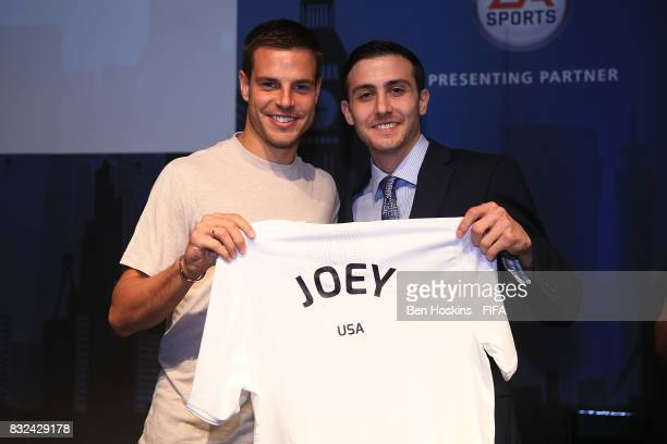 Cesar Azpilicueta of Chelsea presents Joseph 'Joey' Calabro of The USA with his shirt ahead of the FIFA Interactive World Cup 2017 on August 15 2017...