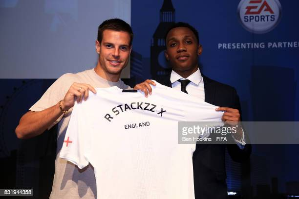 Cesar Azpilicueta of Chelsea presents Ryan 'R Stackzz X' Pessoa of England with his shirt ahead of the FIFA Interactive World Cup 2017 on August 15...