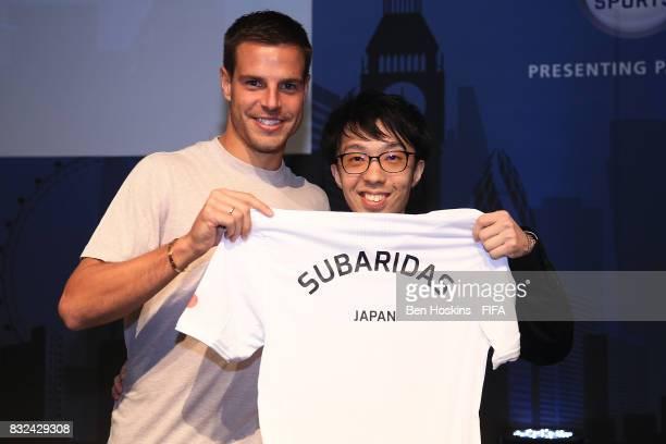 Cesar Azpilicueta of Chelsea presents Subaru 'Subaridas' Sagano of Japan with his shirt ahead of the FIFA Interactive World Cup 2017 on August 15...