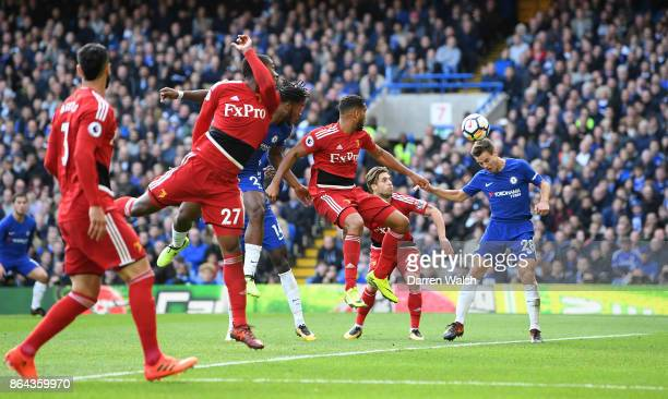 Cesar Azpilicueta of Chelsea scores his side's third goal during the Premier League match between Chelsea and Watford at Stamford Bridge on October...