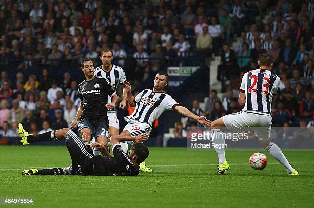 Cesar Azpilicueta of Chelsea scores his team's third goal during the Barclays Premier League match between West Bromwich Albion and Chelsea at The...