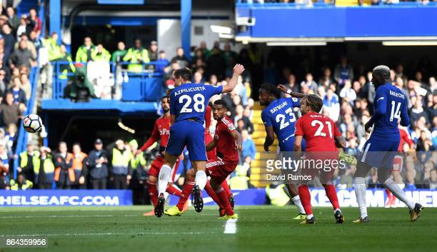 Cesar Azpilicueta of Chelsea scores the 3rd Chelsea goal during the Premier League match between Chelsea and Watford at Stamford Bridge on October 21...