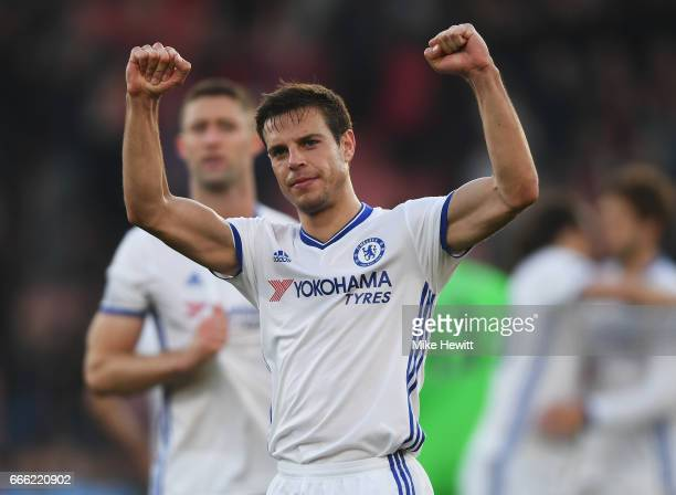 Cesar Azpilicueta of Chelsea shows appreciation to the fans after the Premier League match between AFC Bournemouth and Chelsea at Vitality Stadium on...