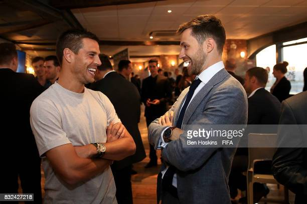 Cesar Azpilicueta of Chelsea speaks with Spencer Owen ahead of the FIFA Interactive World Cup 2017 on August 15 2017 in London England