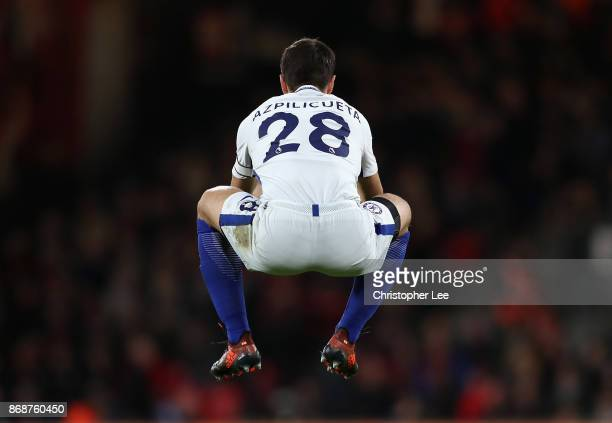 Cesar Azpilicueta of Chelsea warms up during the Premier League match between AFC Bournemouth and Chelsea at Vitality Stadium on October 28 2017 in...