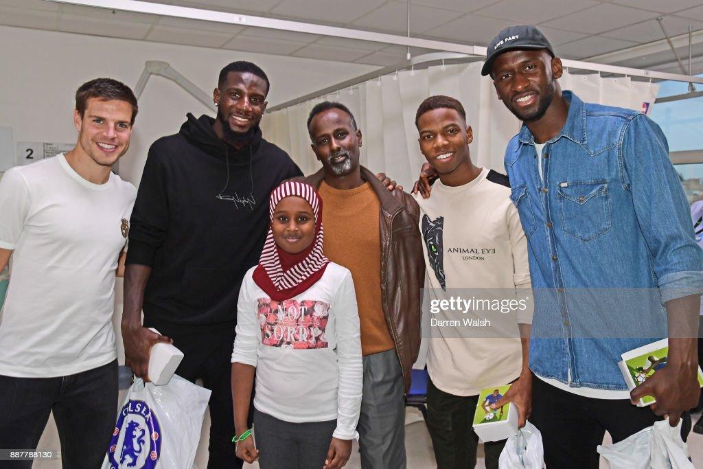 Cesar Azpilicueta Tiemoue Bakayoko, Charly Musonda Jr, Antonio Rudiger of Chelsea at the Chelsea and Westminster Hospital on December 7, 2017 in London, England.