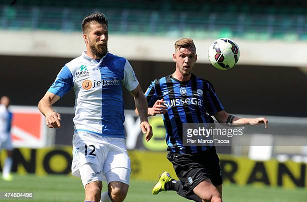 Cesar Bostjan of AC Chievo competes for the ball with Rossetti Valerio during the Serie A match between AC Chievo Verona and Atalanta BC at Stadio...