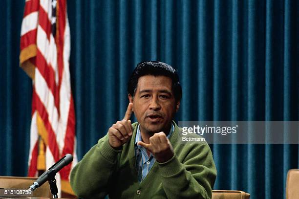 Cesar Chavez head of the United Farm Workers makes a point in a press conference in Sacramento