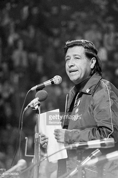 Cesar Chavez head of the United Farm Workers of America addresses supporters of a California Grape Boycott He was a joint speaker with Hortensia...
