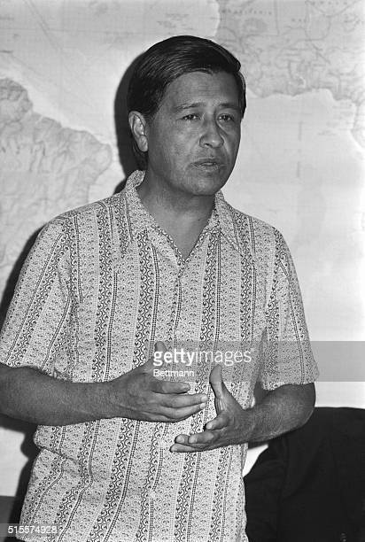 Cesar Chavez president of the United Farm Workers of America speaks to ranking clergy and heads of religious orders 9/26 at a meeting in the...