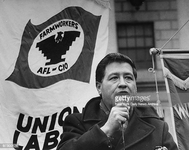 Cesar Chavez speaking to demonstrators in Foley Square before entering the Federal Building to file a lawsuit against the Department of Defense for...