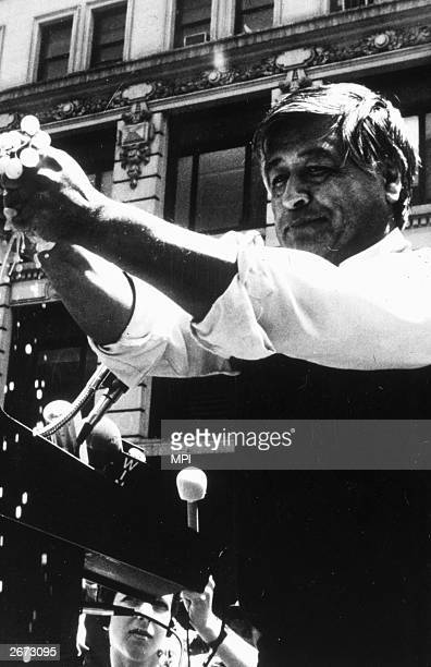 Cesar Chavez the leader of the UFW and a prominent Chicano spokesman during a grape boycott in California