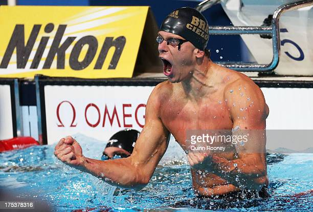 Cesar Cielo Filho of Brazil celebrates after the Swimming Men's Freestyle 50m Final on day fifteen of the 15th FINA World Championships at Palau Sant...