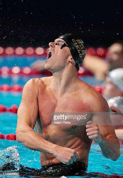 Cesar Cielo Filho of Brazil celebrates winning the Swimming Men's 50m Butterfly Final on day ten of the 15th FINA World Championships at Palau Sant...