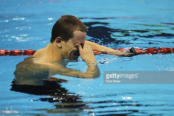 Cesar Cielo Filho of Brazil reacts after he won the Men's 50m Butterfly final during Day Ten of the 14th FINA World Championships at the Oriental...