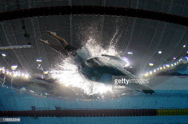 Cesar Cielo of Brazil competes in the men's 100 m freestyle heat during Day Two of the XVI Pan American Games at Scotiabank Aquatics Center on...