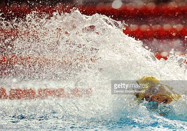 Cesar Cielo of Brazil competes in the men's 4x100m relay medley final during Day Seven of the XVI Pan American Games at Scotiabank Aquatics Center on...