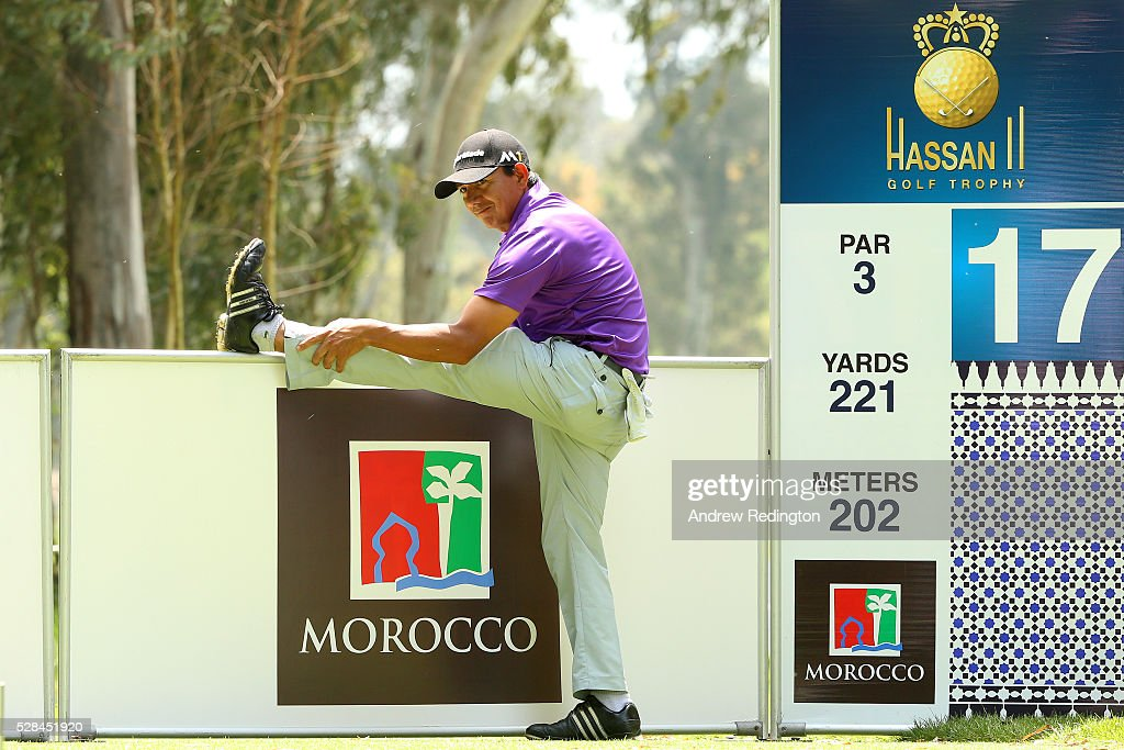 Cesar Costilla of Argentina stretches before his tee shot on the 17th during the first round of the Trophee Hassan II at Royal Golf Dar Es Salam on May 5, 2016 in Rabat, Morocco.