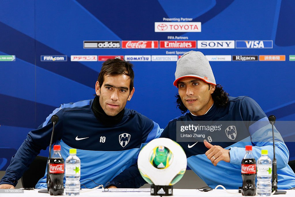 Cesar Delgado (L) and Aldo de Nigris of Monterrey pose for a photo during CF Monterrey press conference at Toyota Stadium on December 8, 2012 in Toyota, Japan.