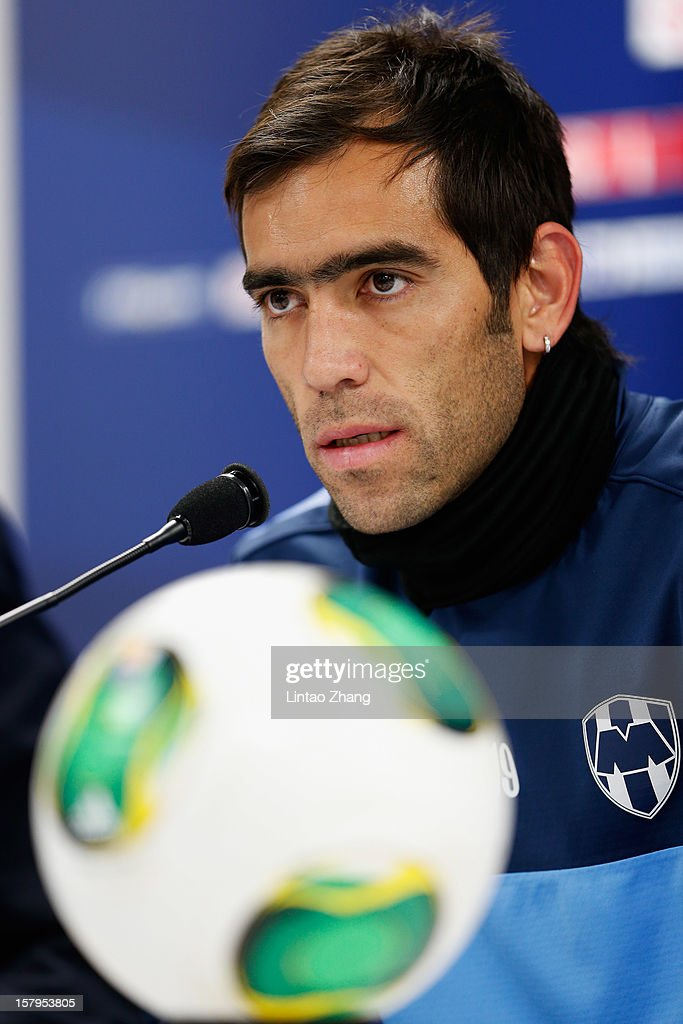Cesar Delgado of Monterrey answers a question during a CF Monterrey press conference at Toyota Stadium on December 8, 2012 in Toyota, Japan.