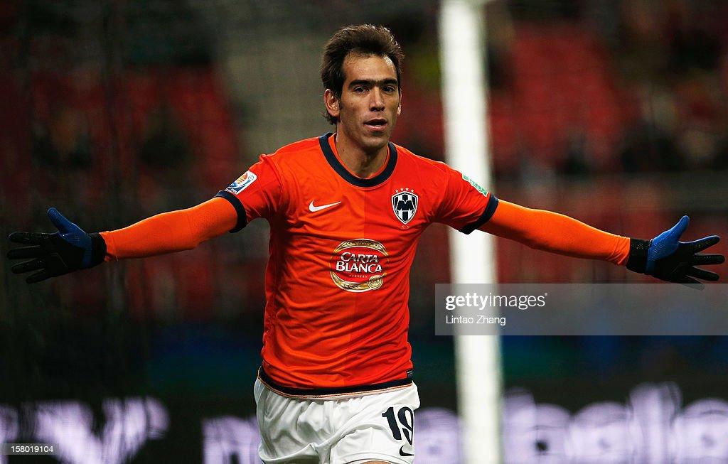 Cesar Delgado of Monterrey celebrates scoring his first goal during the FIFA Club World Cup Quarter Final match between Ulsan Hyundai and CF...